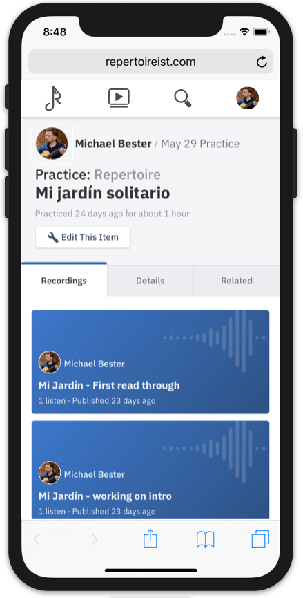 Repertoireist on your mobile device